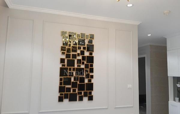 Xu hướng dùng gương phòng khách ghép tường nghệ thuật cho không gian nhỏ hẹp