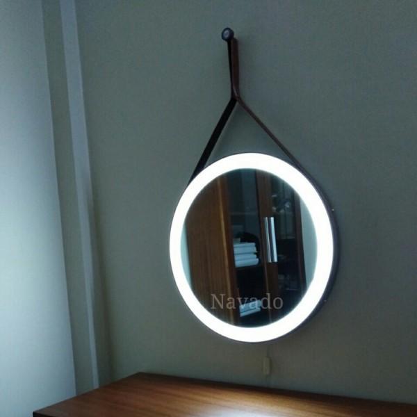 Gương dây da đèn led viền ngoài 50cm