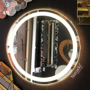 Gương trang điểm đèn led khung inox vàng cao cấp