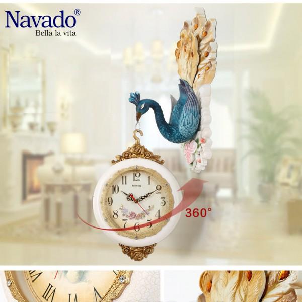 Đồng hồ trang trí chim Khổng Tước