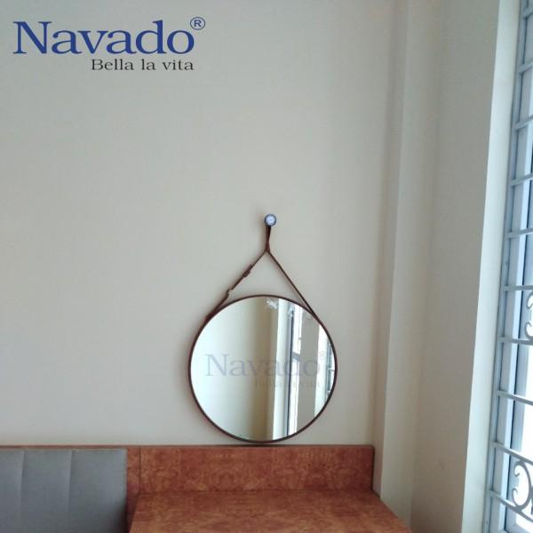 Gương tròn dây da 50cm