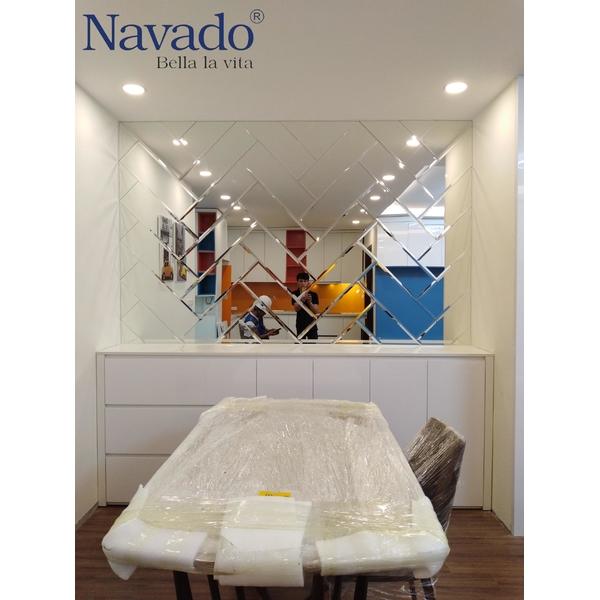 Gương trang trí phòng khách ghép tường Luxury
