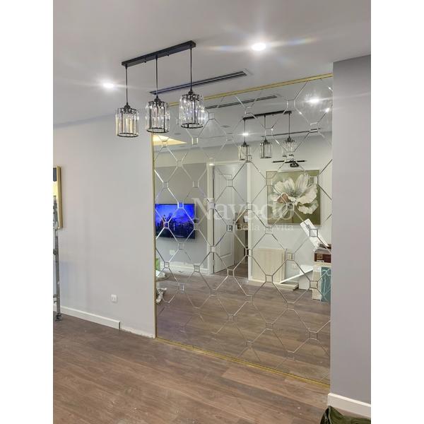 Gương ghép tường phòng khách cao cấp Luxury