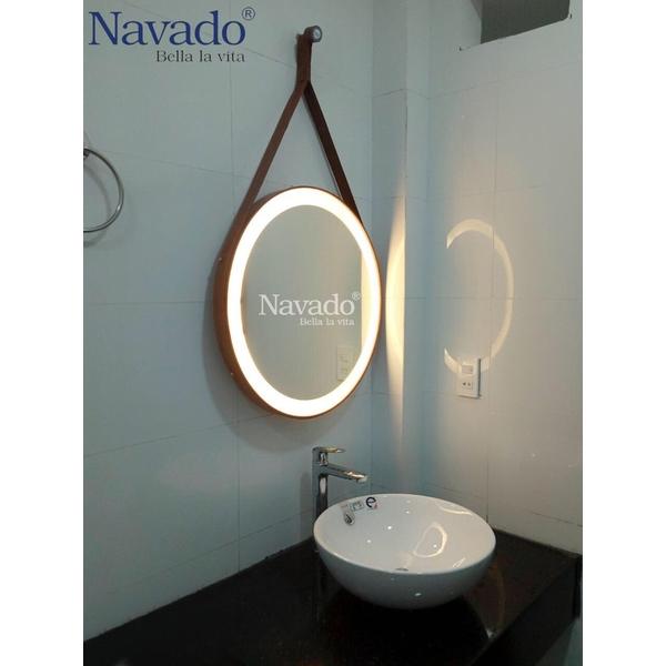 Gương dây da phòng tắm đèn led
