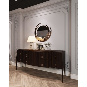Gương treo tường khung tròn inox vàng trang trí