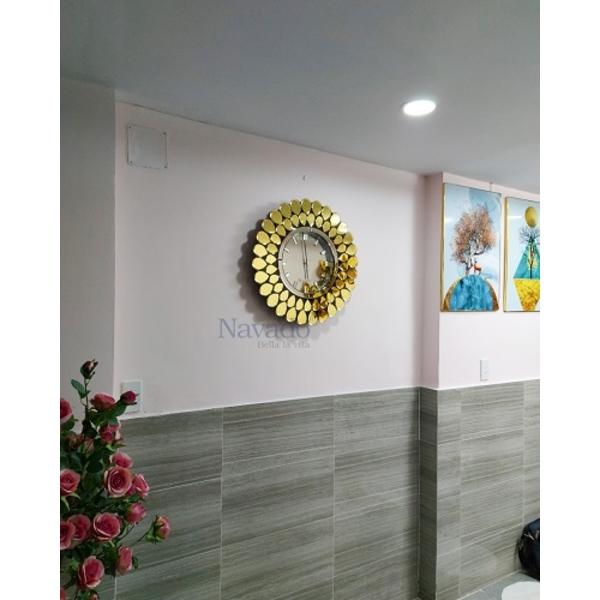 Đồng hồ gương decor peacock trang trí phòng khách