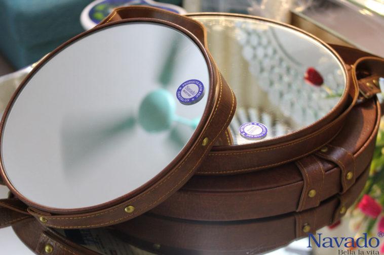 Gương bàn phấn dây da