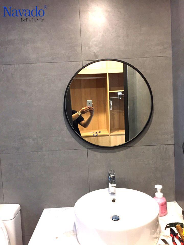 Gương tròn vành đồng cổ Cross 60cm