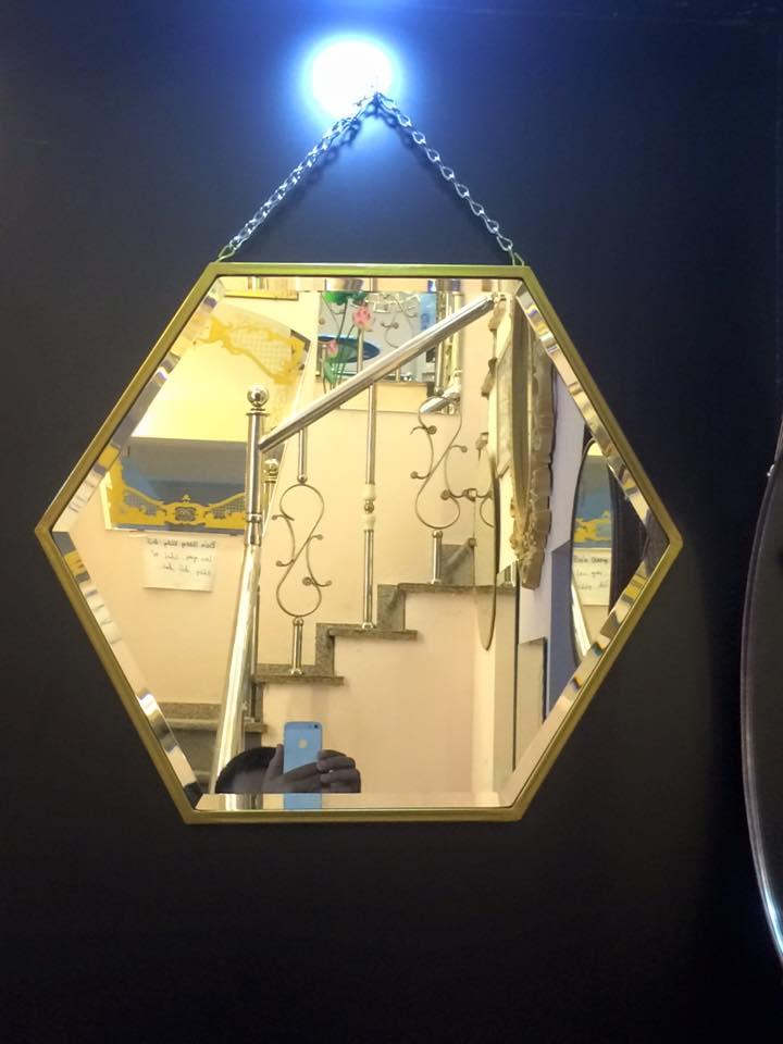 Gương trang trí lục giác treo tường
