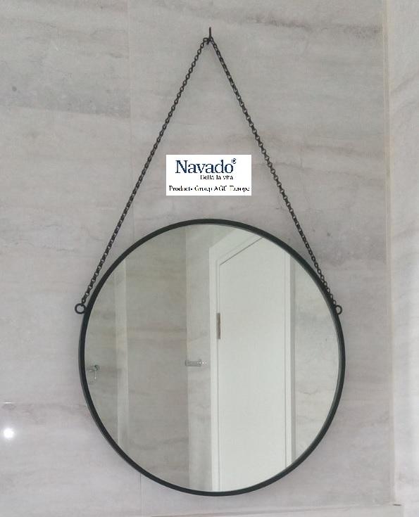 Gương tròn treo dây xích trang trí