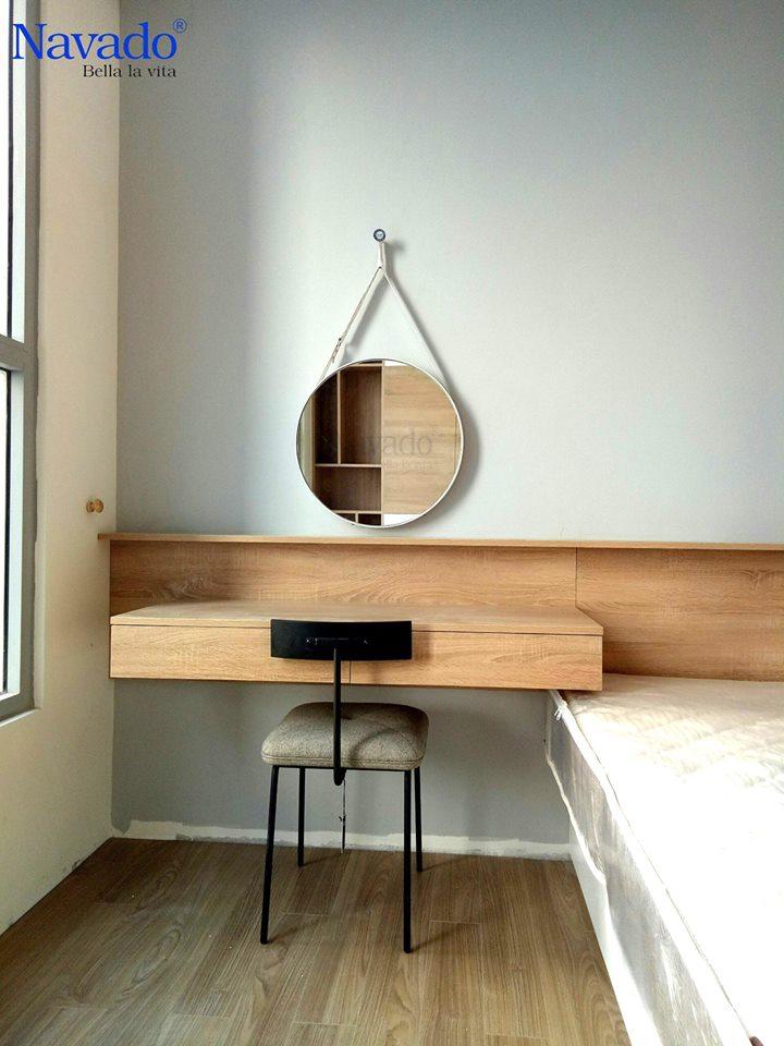 Gương treo dây da trắng 60cm