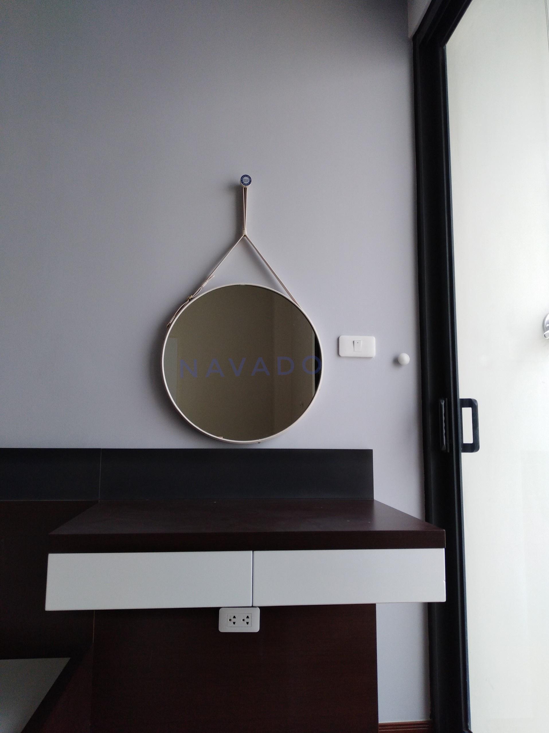 Gương dây da trắng 40cm