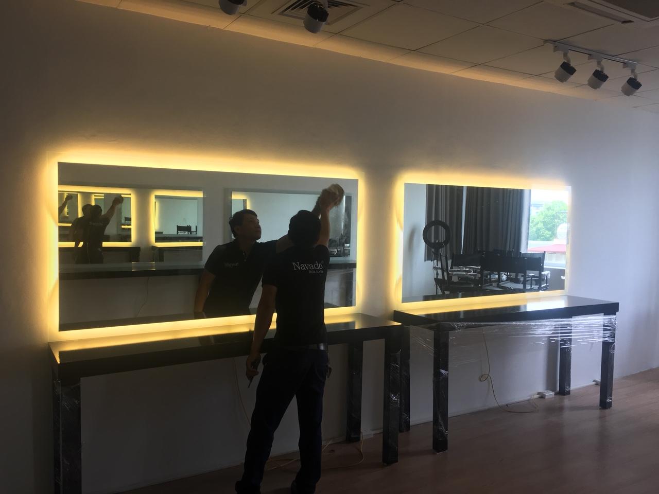 Gương led hắt sáng cắt theo kích thước