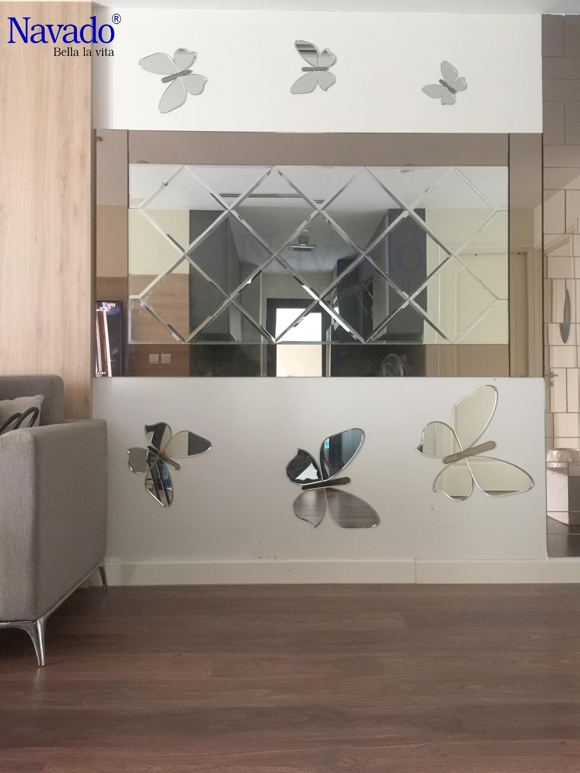 Gương trang trí ghép dán tường