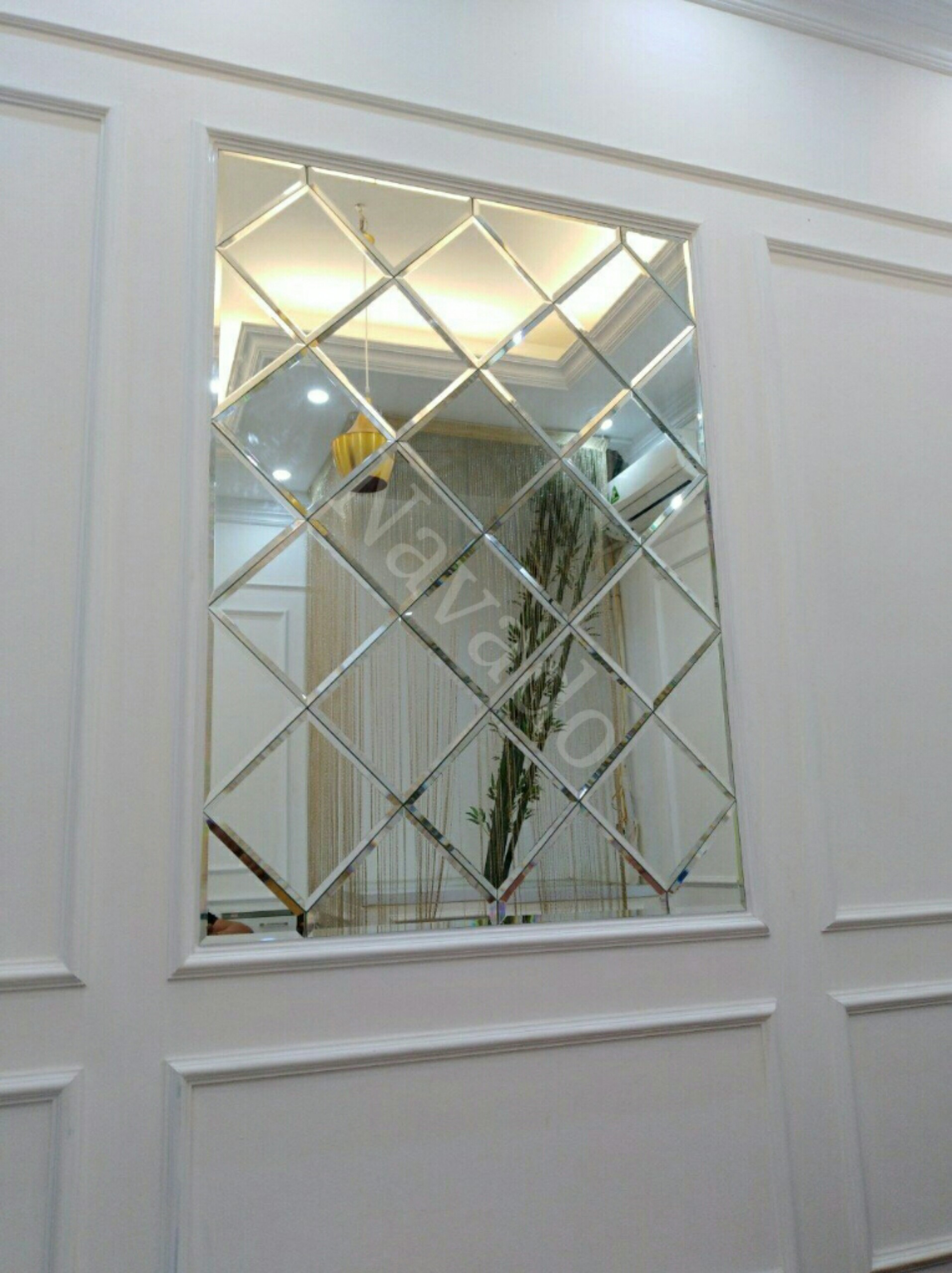 Gương trang trí ghép tường quả trám