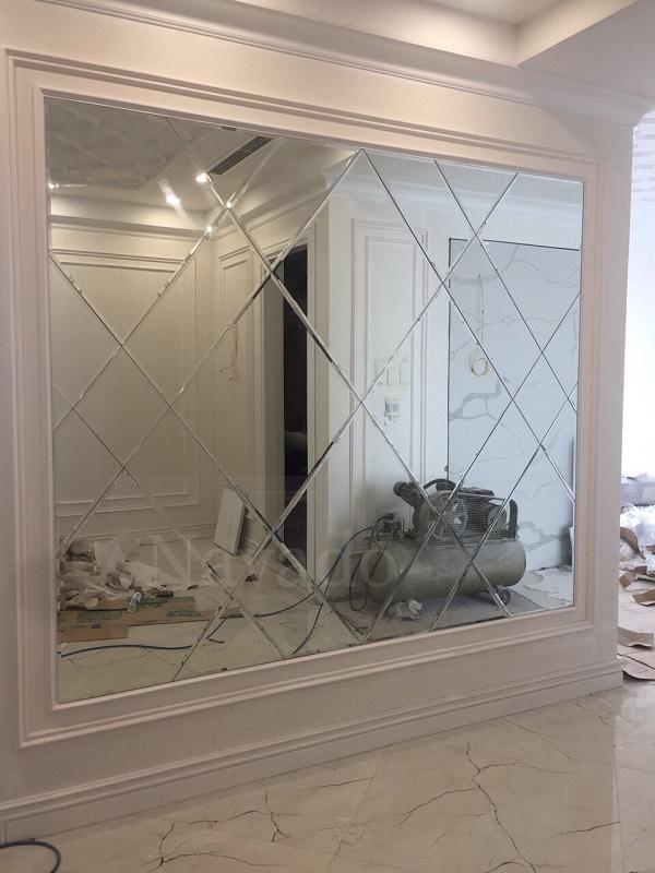 Gương ghép nghệ thuật phòng khách độc đáo