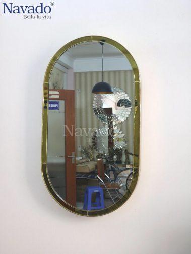 Gương vành inox bầu dục decor phòng khách